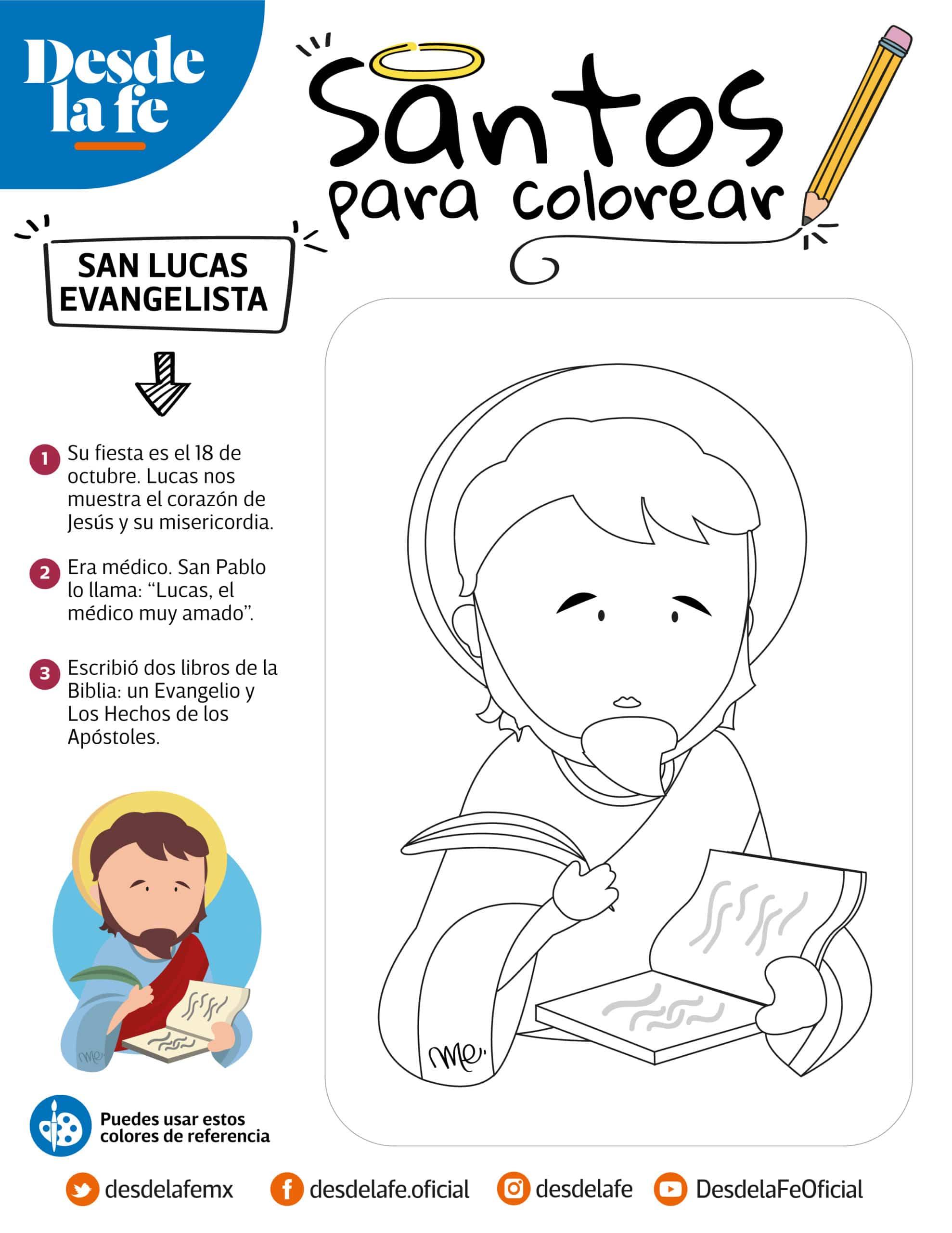 San Lucas Evangelista, dibujo para colorear.