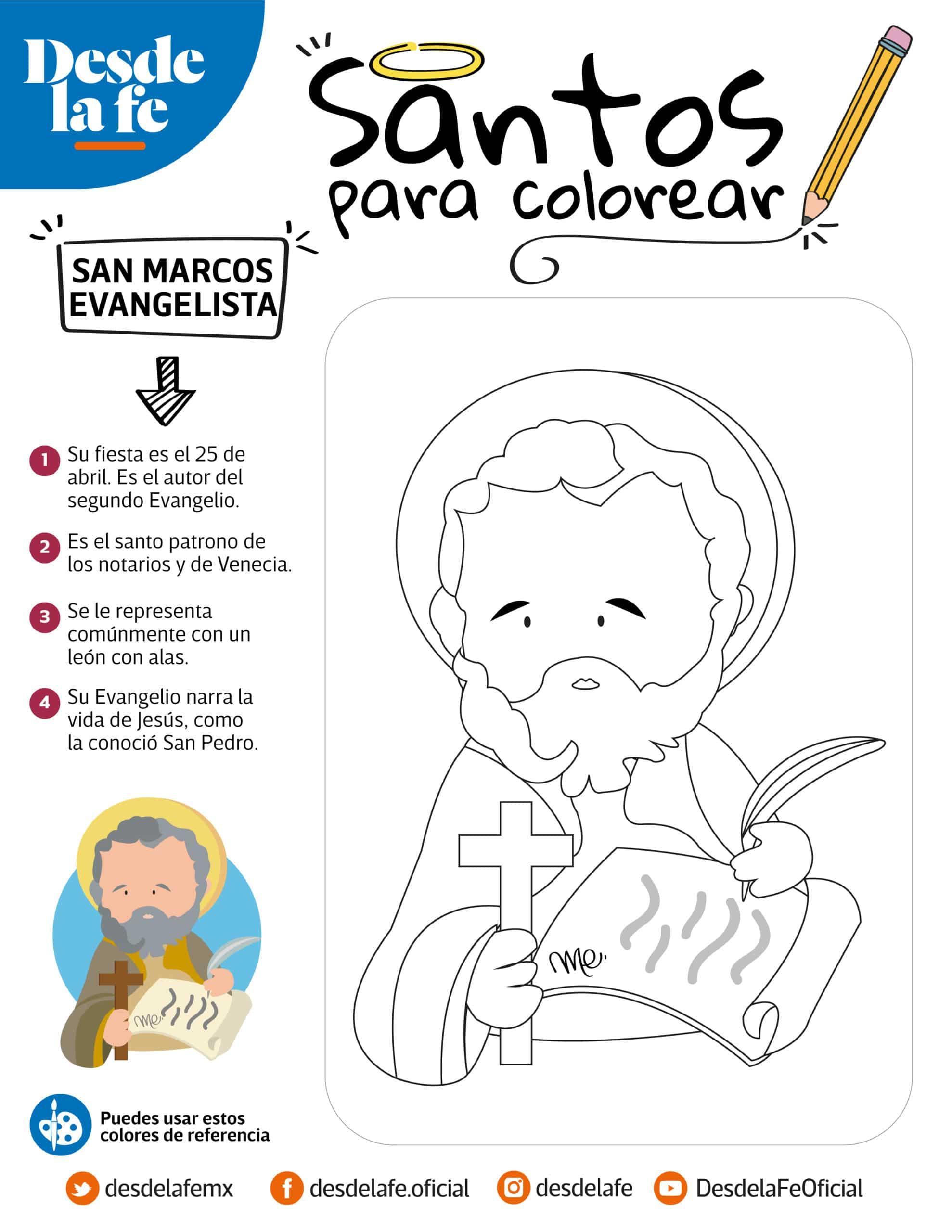 San Marcos Evangelista, dibujo para colorear.