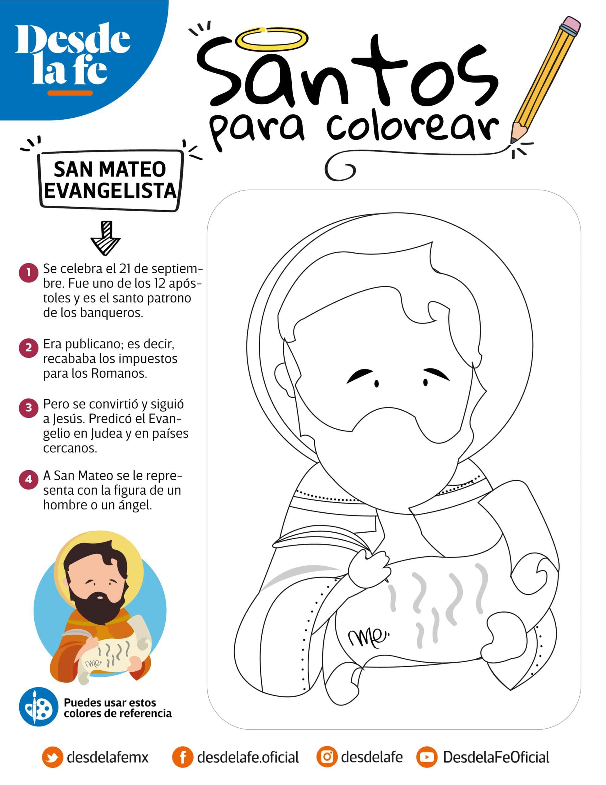 San Mateo Evangelista, dibujo para colorear.