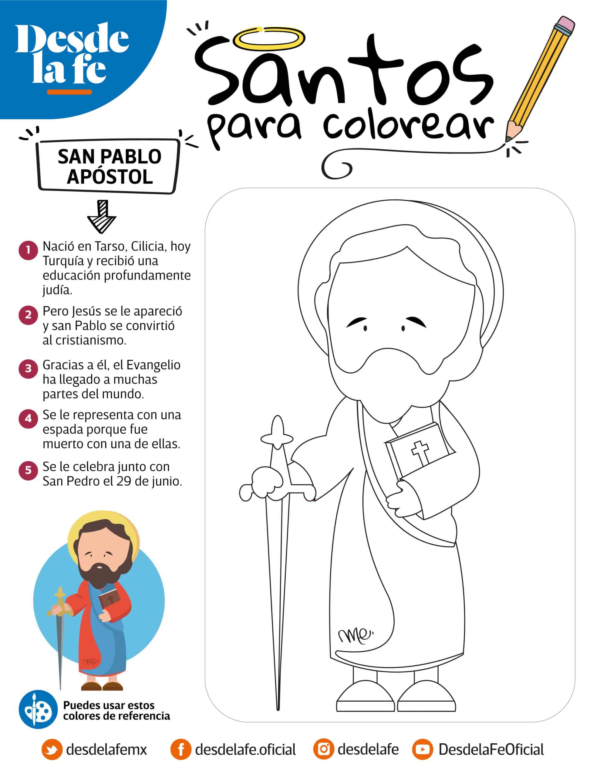 San Pablo Apóstol, dibujo para colorear.