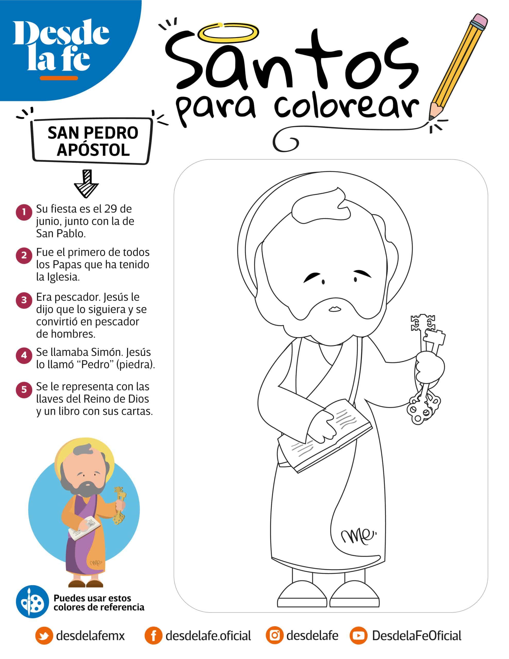San Pedro Apóstol, dibujo para colorear.