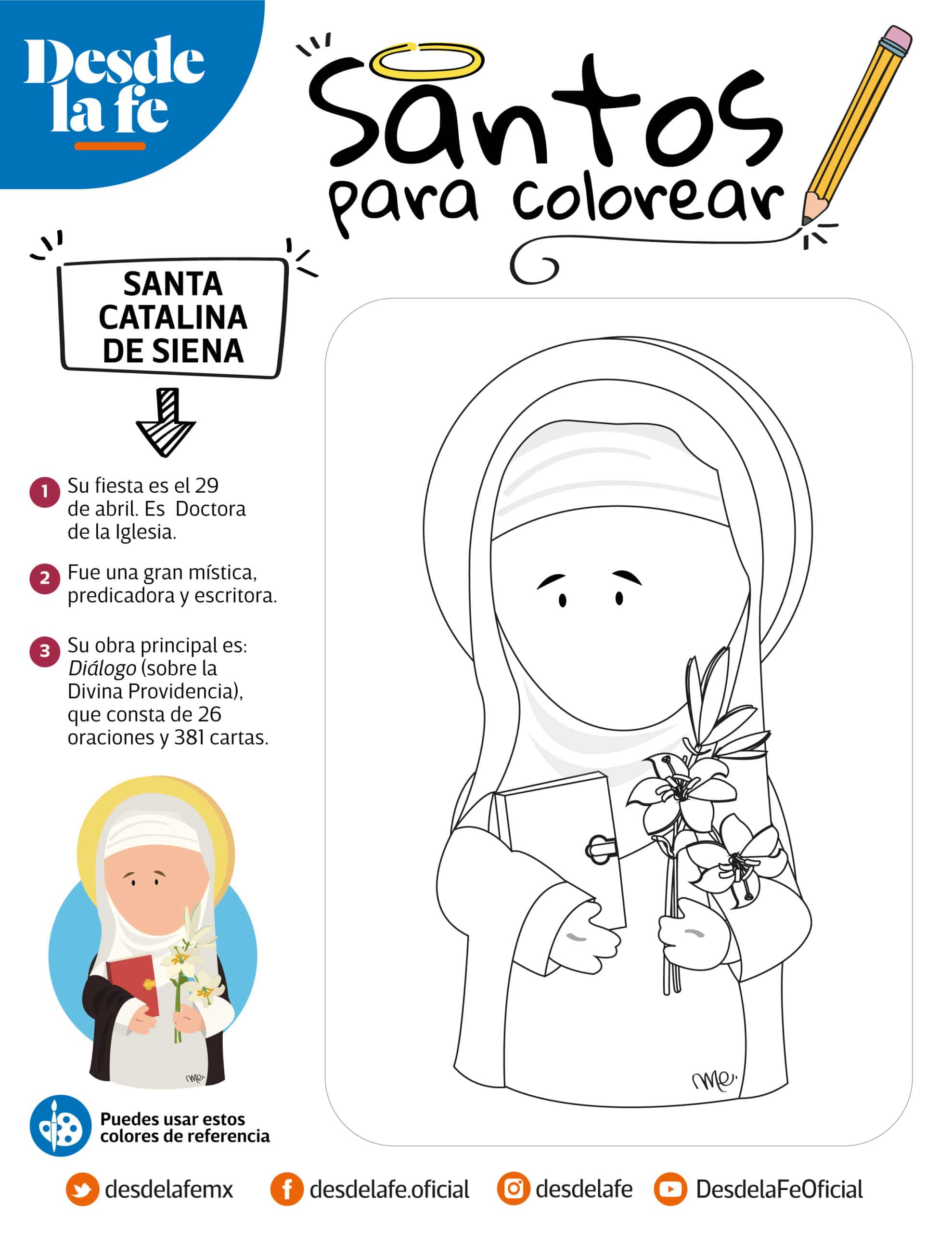Santa Catalina de Siena, dibujo para colorear.