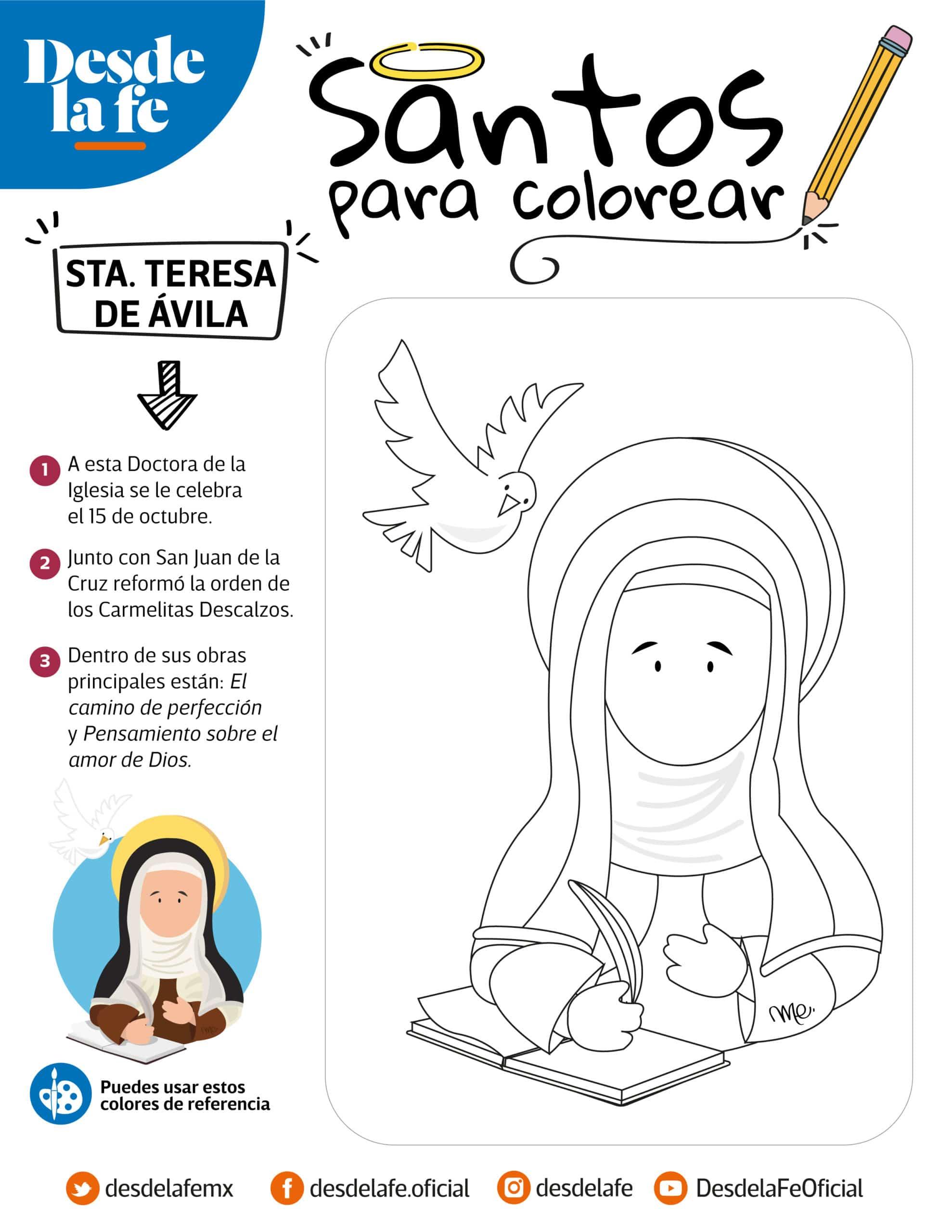Santa Teresa de Ávila, dibujo para colorear.