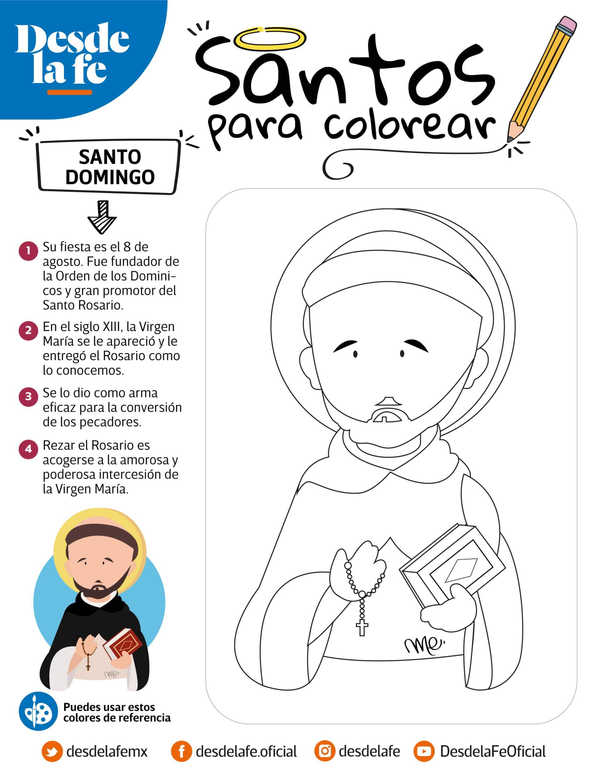 Santo Domingo, dibujo para colorear.