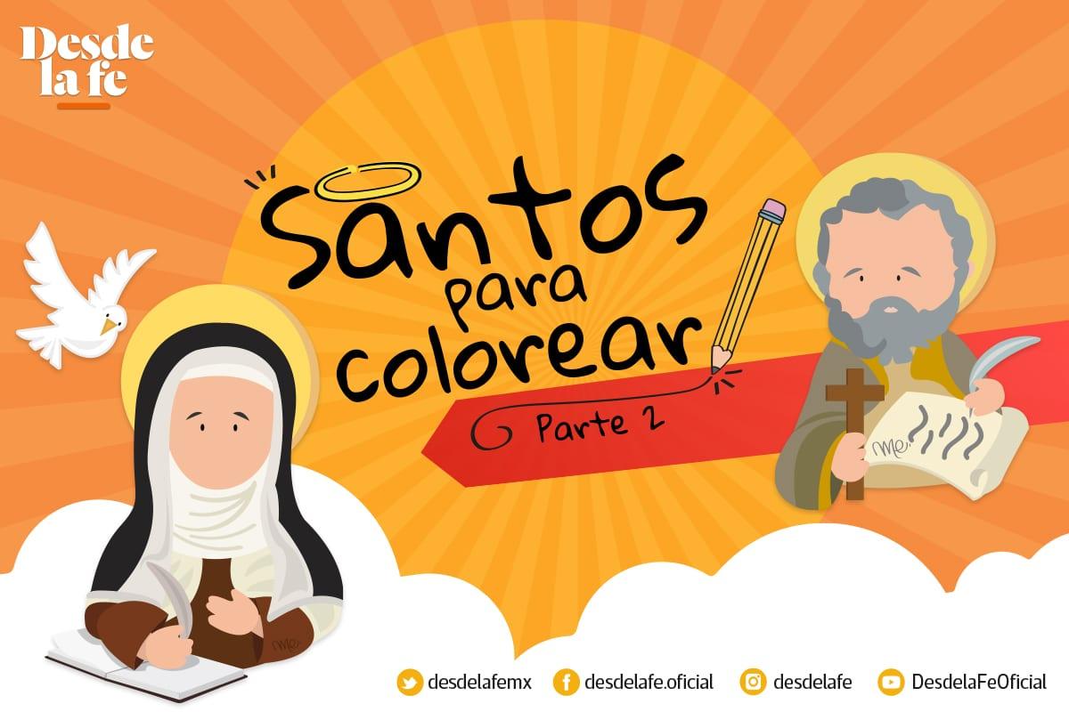 Álbum y dibujos de santos para niños, para colorear. Diseño: María Escutia
