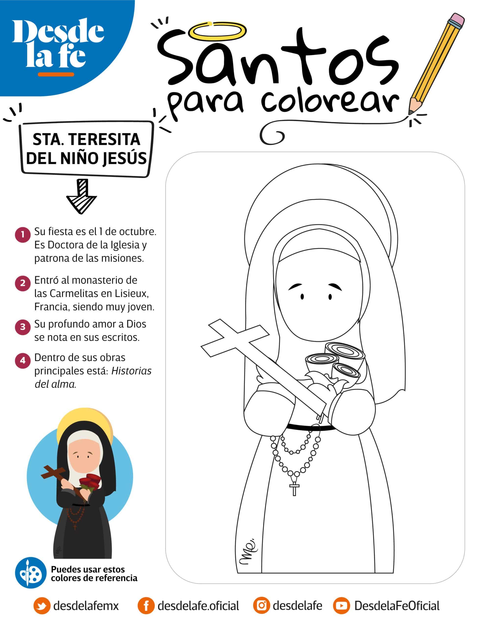 Santa Teresita del Niño Jesús, dibujo para colorear.