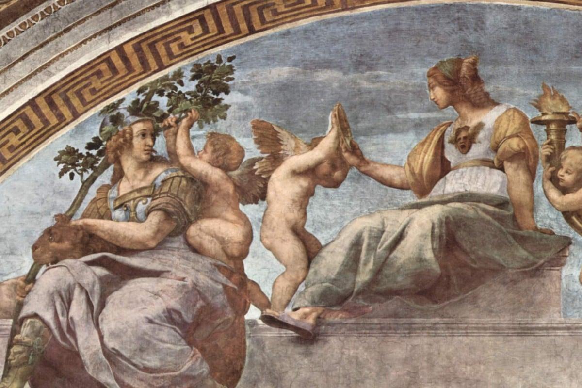 Aspecto de Las Virtudes Cardinales, pintura de Rafael Sanzio en El Vaticano.