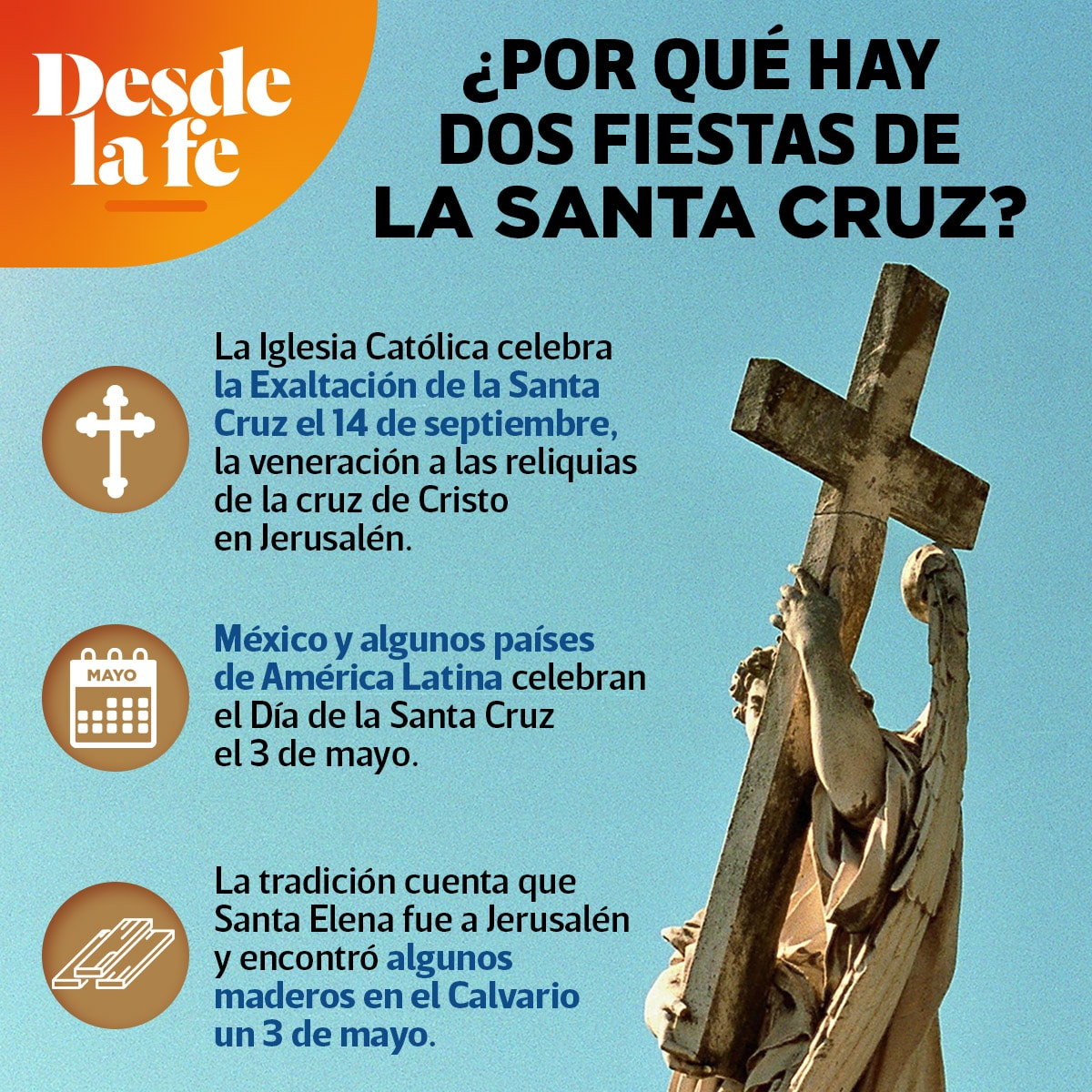 La Fiesta de la Exaltación de la Cruz y el Día de la Santa Cruz son dos fechas de la Iglesia Católica que hacen honor a la cruz.