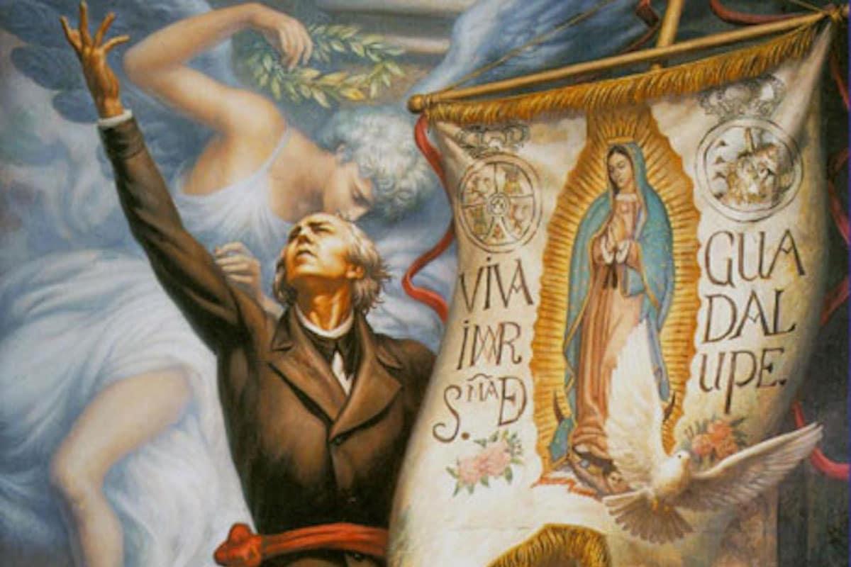 El cura Miguel Hidalgo con un estandarte de la Virgen de Guadalupe, que usó como bandera para motivar a la Independencia de México.