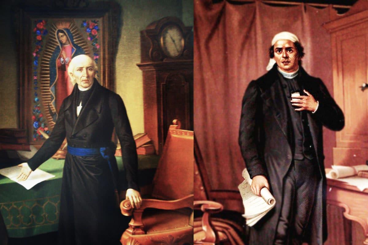 Los sacerdotes Miguel Hidalgo y José María Morelos y Pavón.