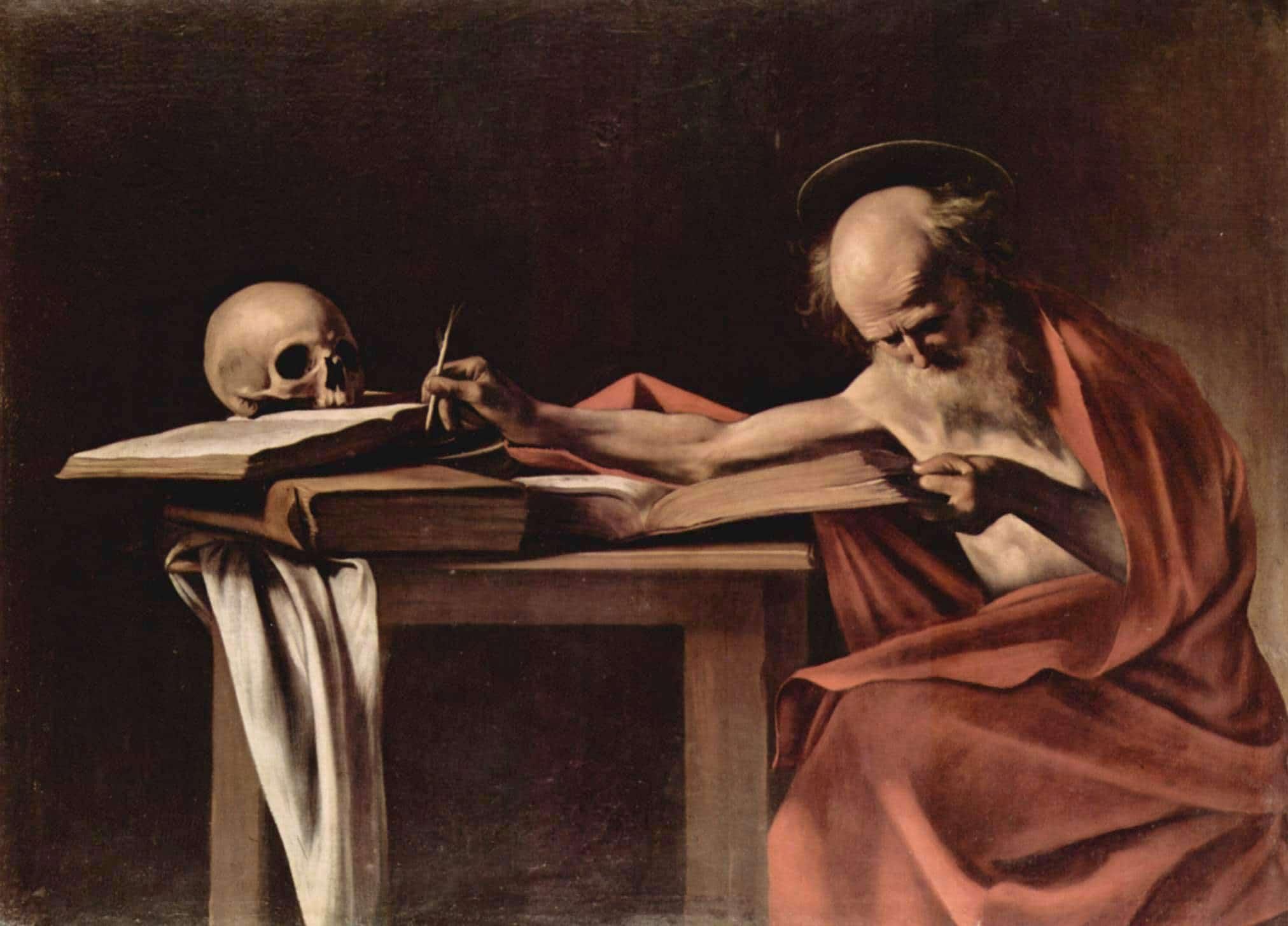 San Jerónimo escribiendo, pintura de Caravaggio.