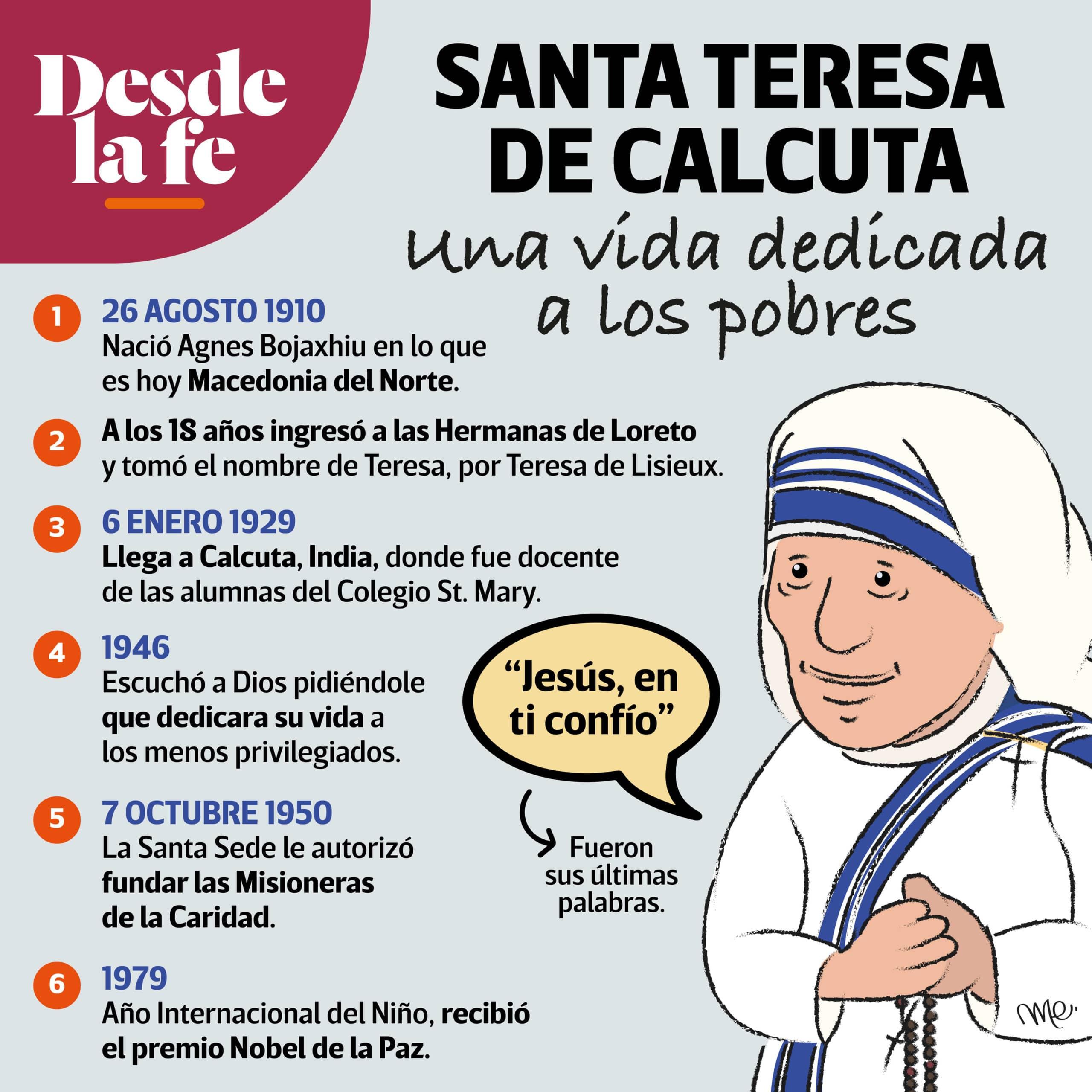 Breve biografía de la Madre Teresa de Calcuta.