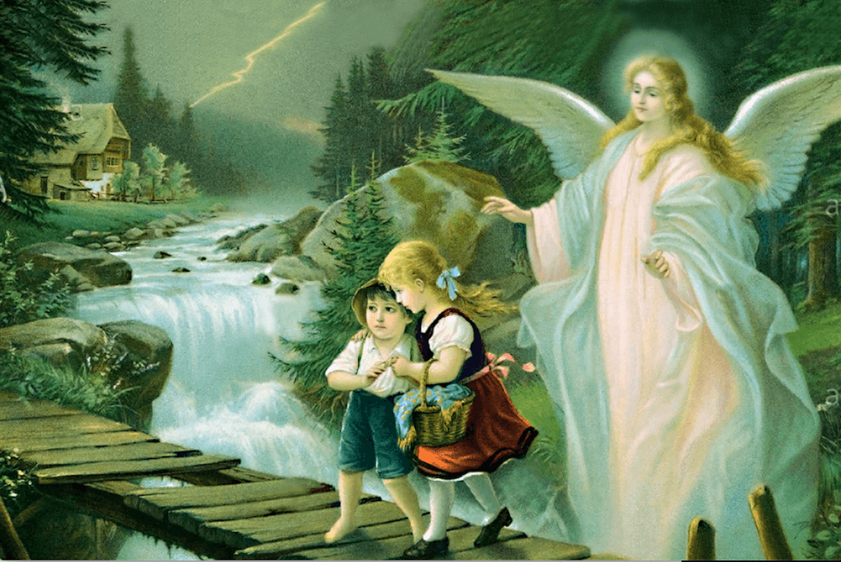 Representación del ángel custodio o ángel de la guarda.