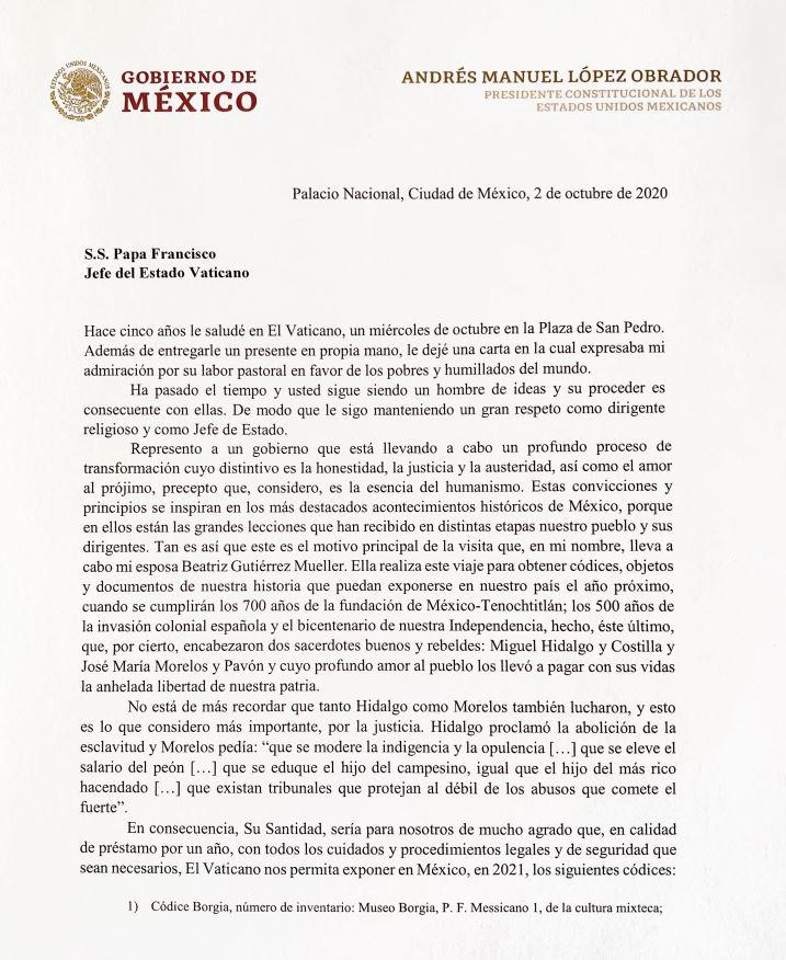 Carta del presidente López Obrador al Papa Francisco