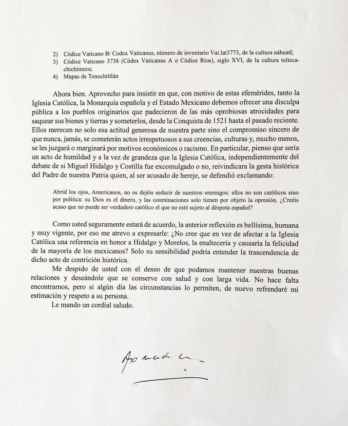 Carta del presidente López Obrador al Papa Francisco.