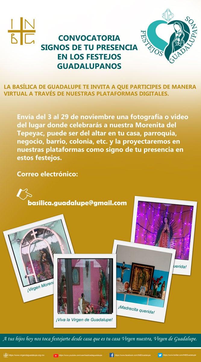 Convocatoria de la Basílica de Guadalupe para enviar foto de tu altar en casa.