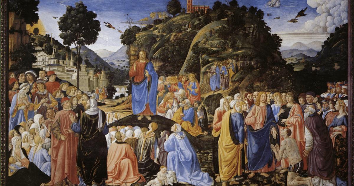 Las Bienaventuranzas en el Sermón de la Montaña. Pintura de Cosimo Roselli.