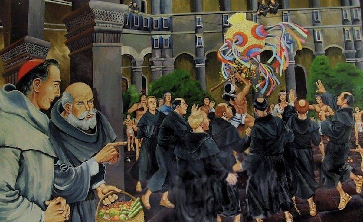 Ilustración de una posada navideña en Acolman