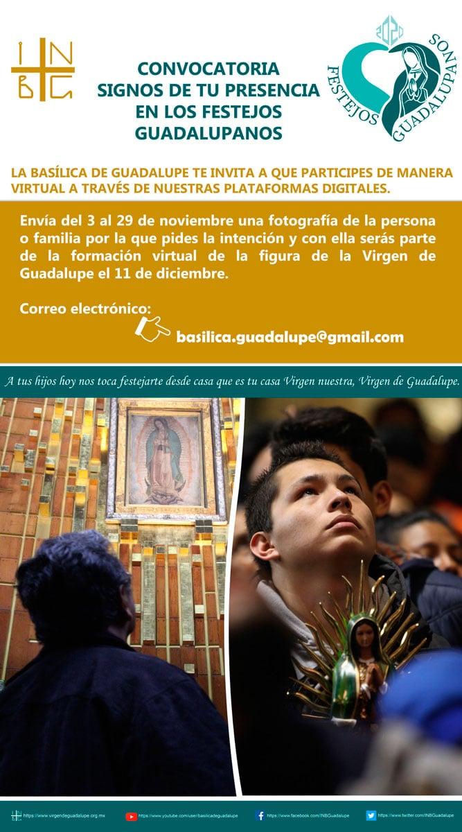 Convocatoria de la Basílica de Guadalupe para festejos guadalupanos 2020.
