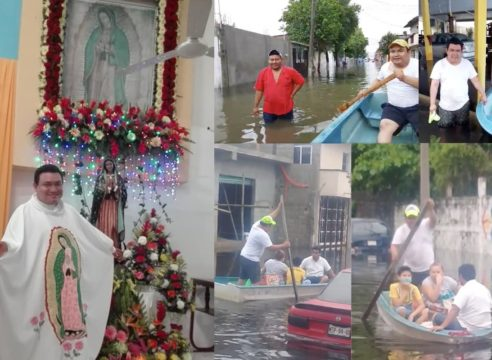 El hombre en lancha que ayuda a damnificados… ¡Es sacerdote!