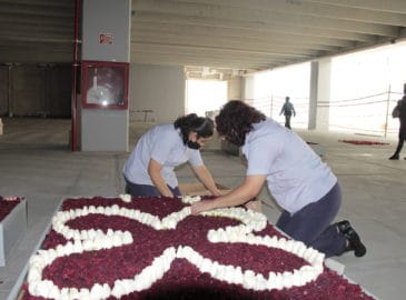 Elaboran tapete monumental de flores para la Virgen de Guadalupe