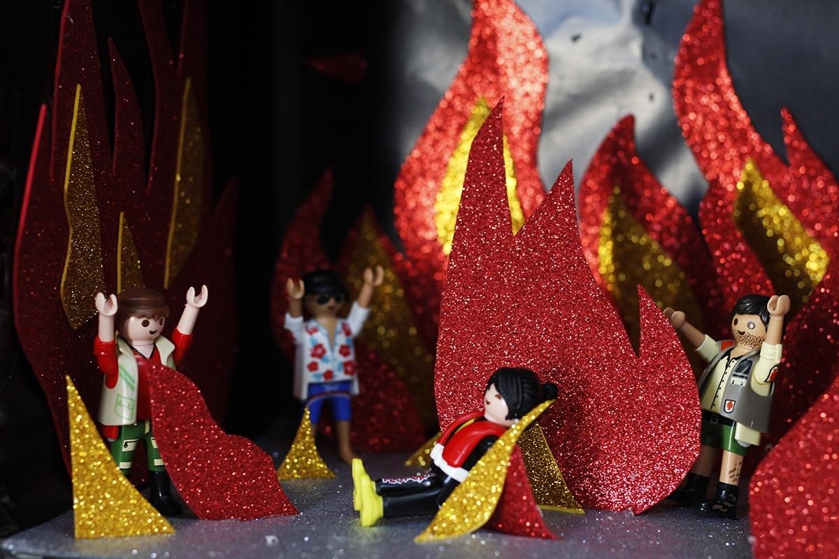 El infierno en el Nacimiento hecho con Playmobil. Foto: Filiberto Monter Santiago.