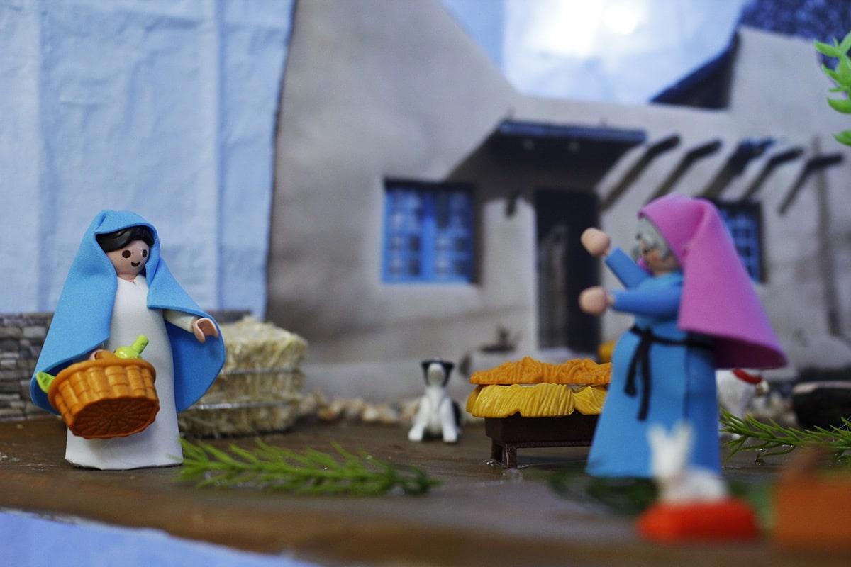 La visitación, representada con figuras de Playmobil. Foto: Filiberto Monter Santiago.