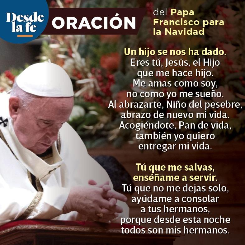 Oración del Papa Francisco para la Navidad 2020.