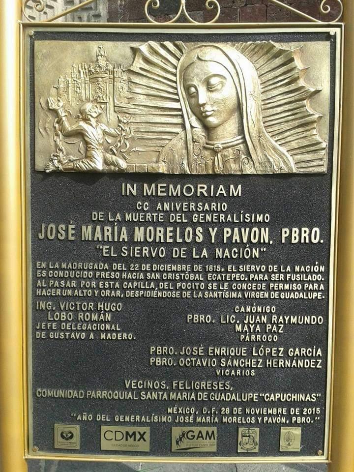 Placa conmemorativa del fusilamiento de Morelos.