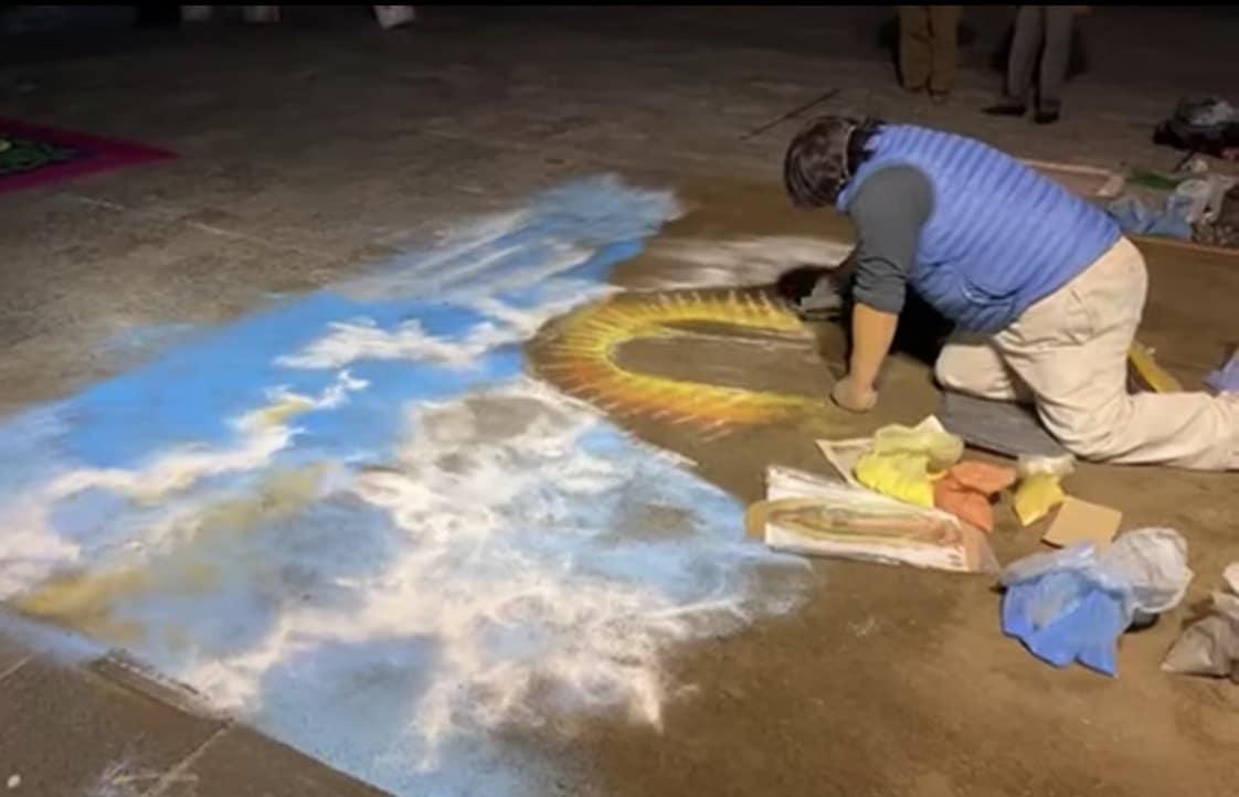 La imagen principal del tapete monumental es la Virgen de Guadalupe. Foto: Youtube/INBG