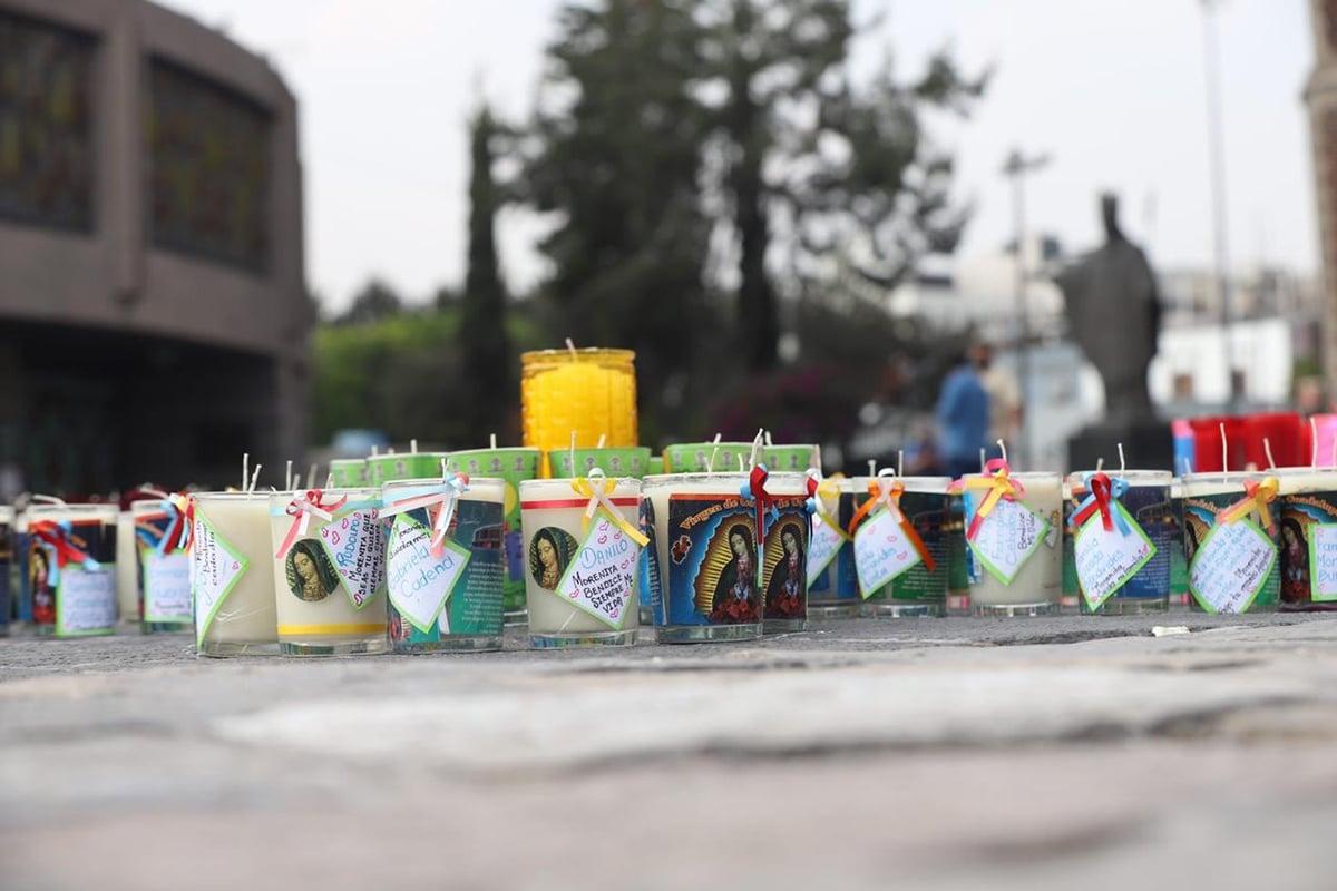 Veladoras que dejaron los devotos guadalupanos en la Basílica de Guadalupe 2020. Foto: María Langarica.