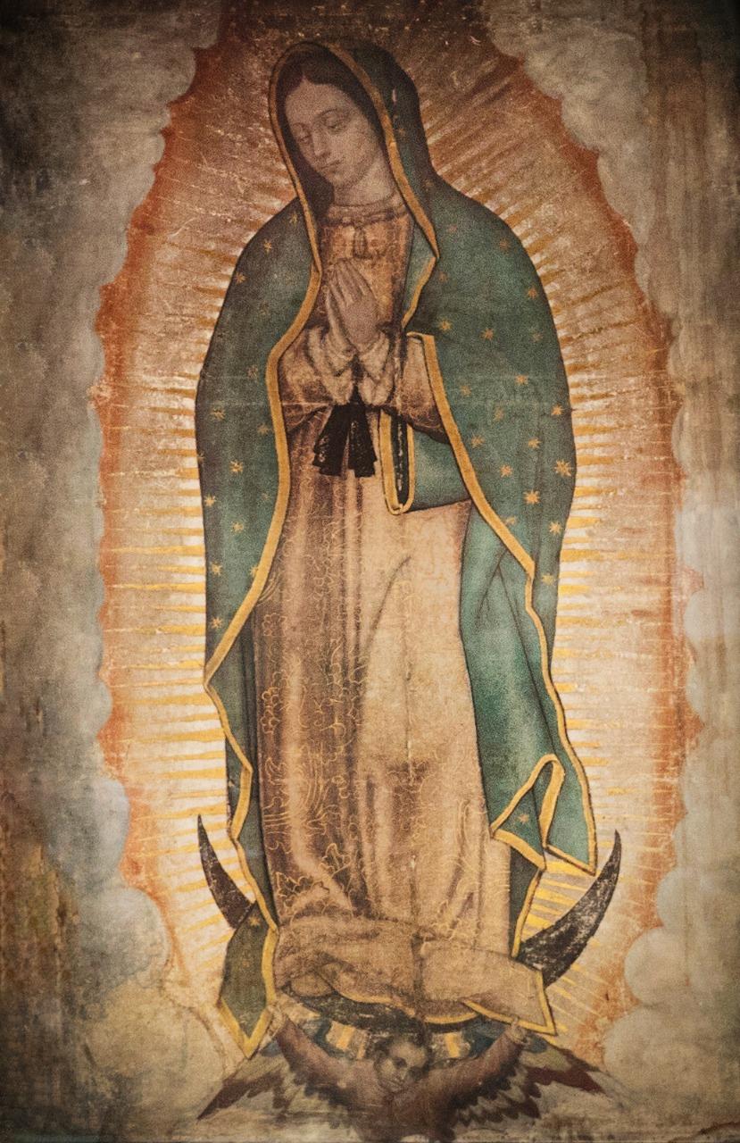 Fotografía de la tilma sagrada donde quedó impresa la Virgen de Guadalupe. Foto: María Langarica