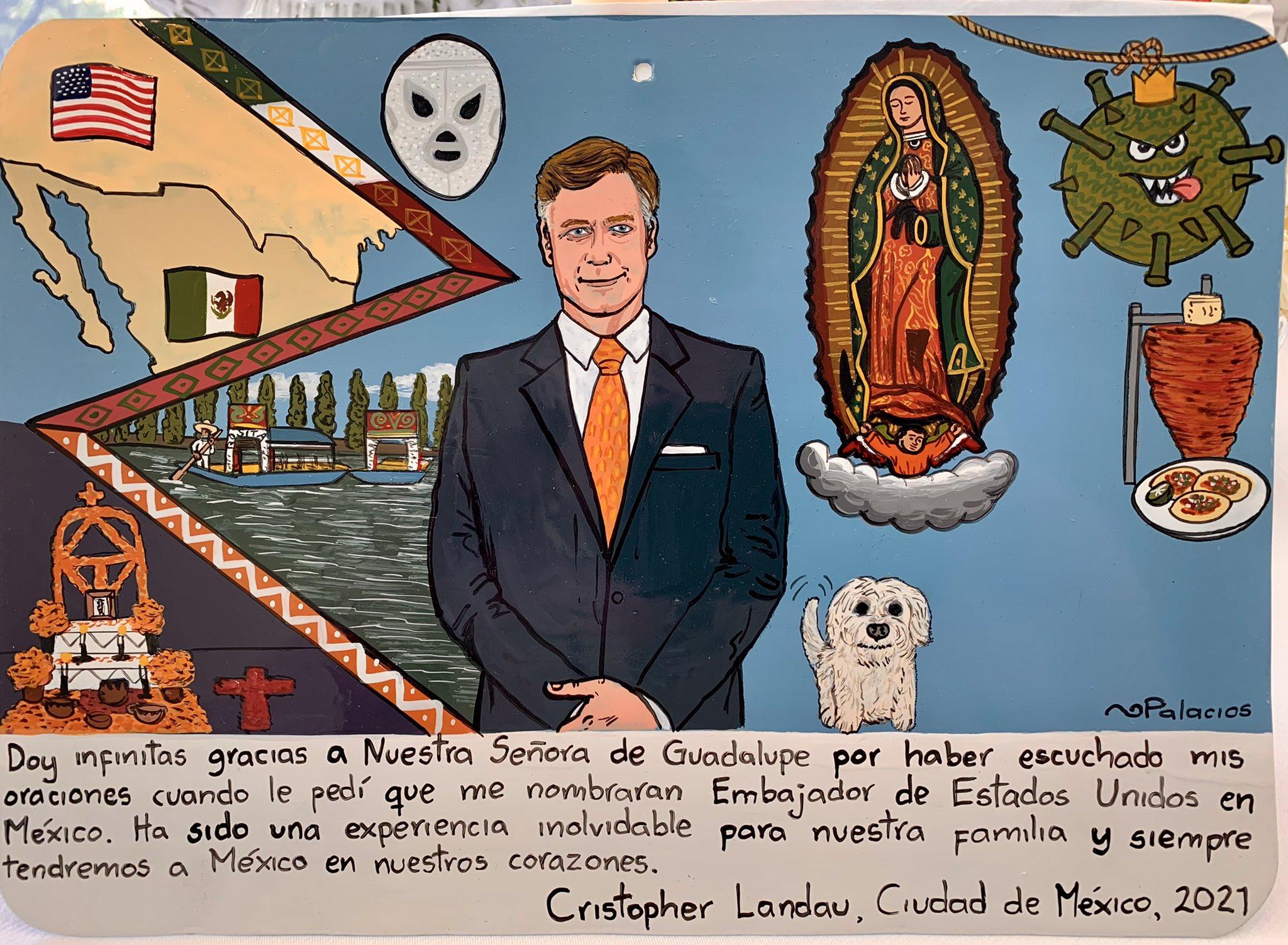 Exvoto a la Virgen de Guadalupe del embajador Landau. Foto: Twitter @USAmbMex