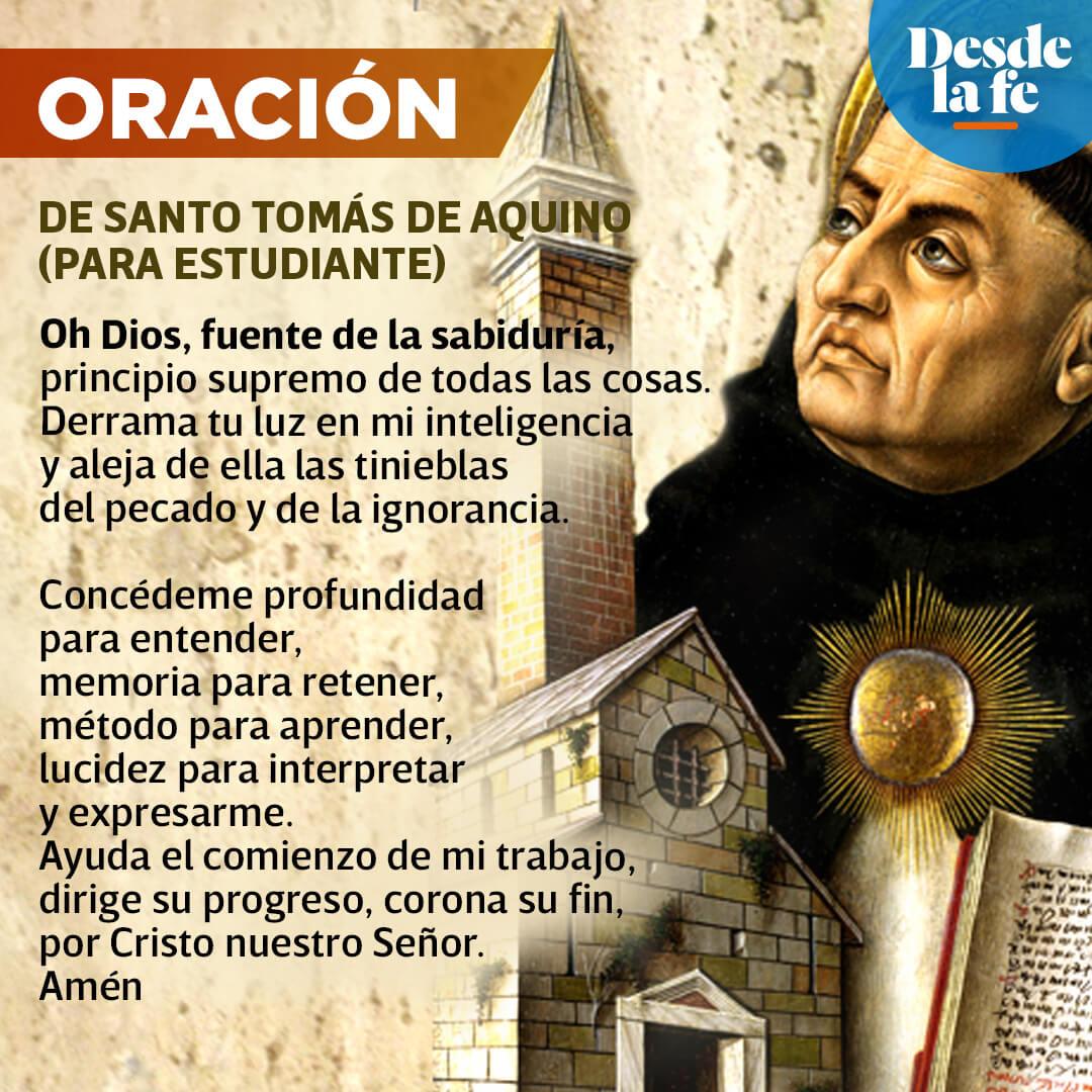 Oración para estudiantes de Santo Tomás de Aquino.