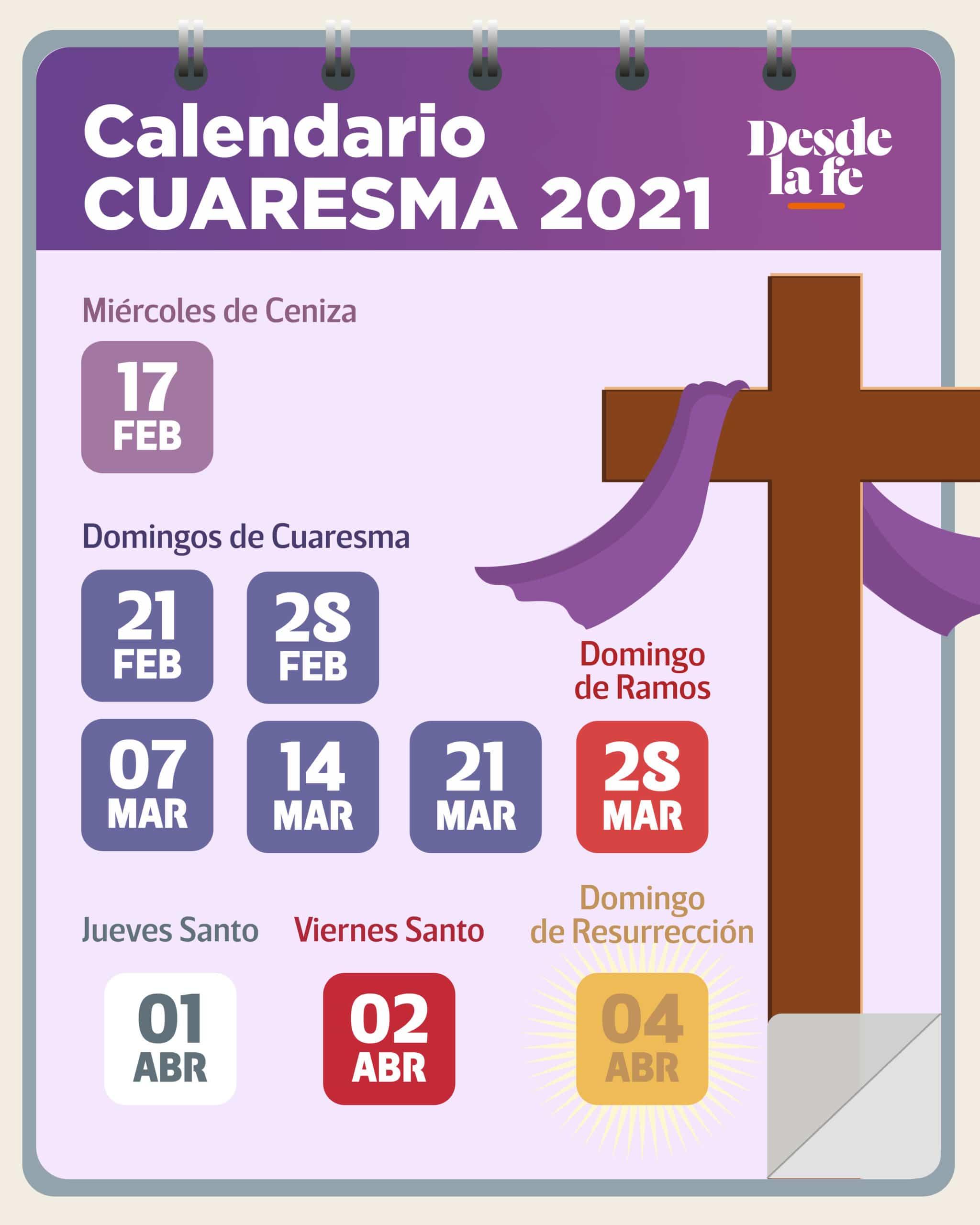 Calendario de Cuaresma y Semana Santa 2021.