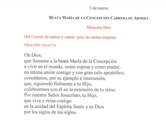 Oración Colecta de la Memoria de la beata Concepción Cabrera.