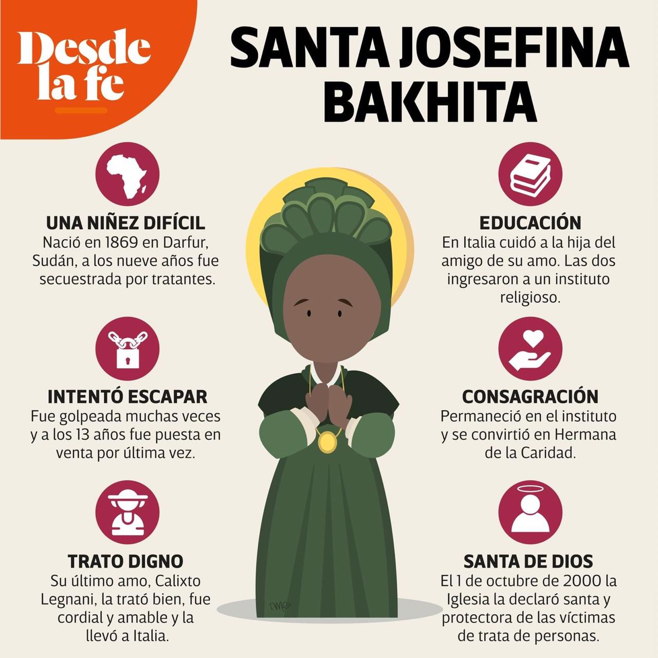Santa Josefina Bakhita. Diseño: María Escutia