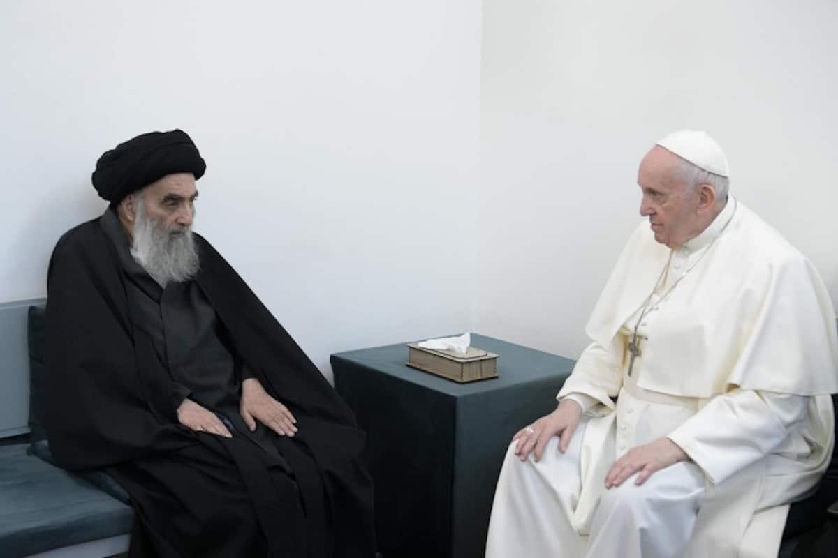 El Papa Francisco se encontró con líder musulmán chiíta, el gran ayatolá Ali al-Sistani. Foto: Vatican Media