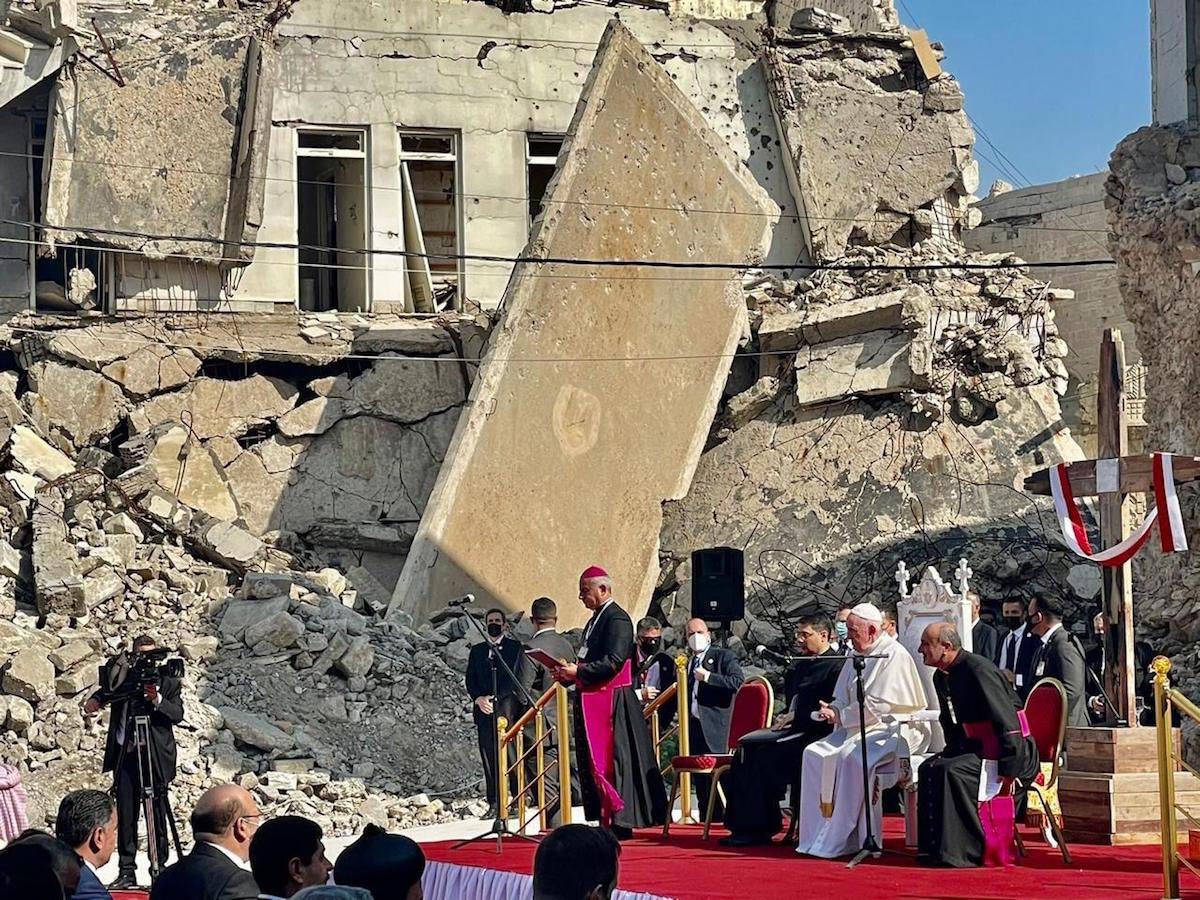 El Papa Francisco en Hosh al-Bieaa, Mosul, en Irak. Foto: Vatican Media