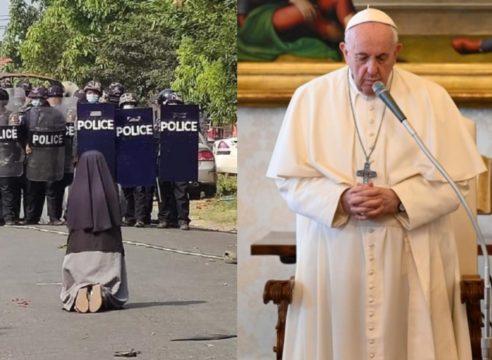 """Papa Francisco: """"Yo también me arrodillo en las calles de Myanmar"""""""