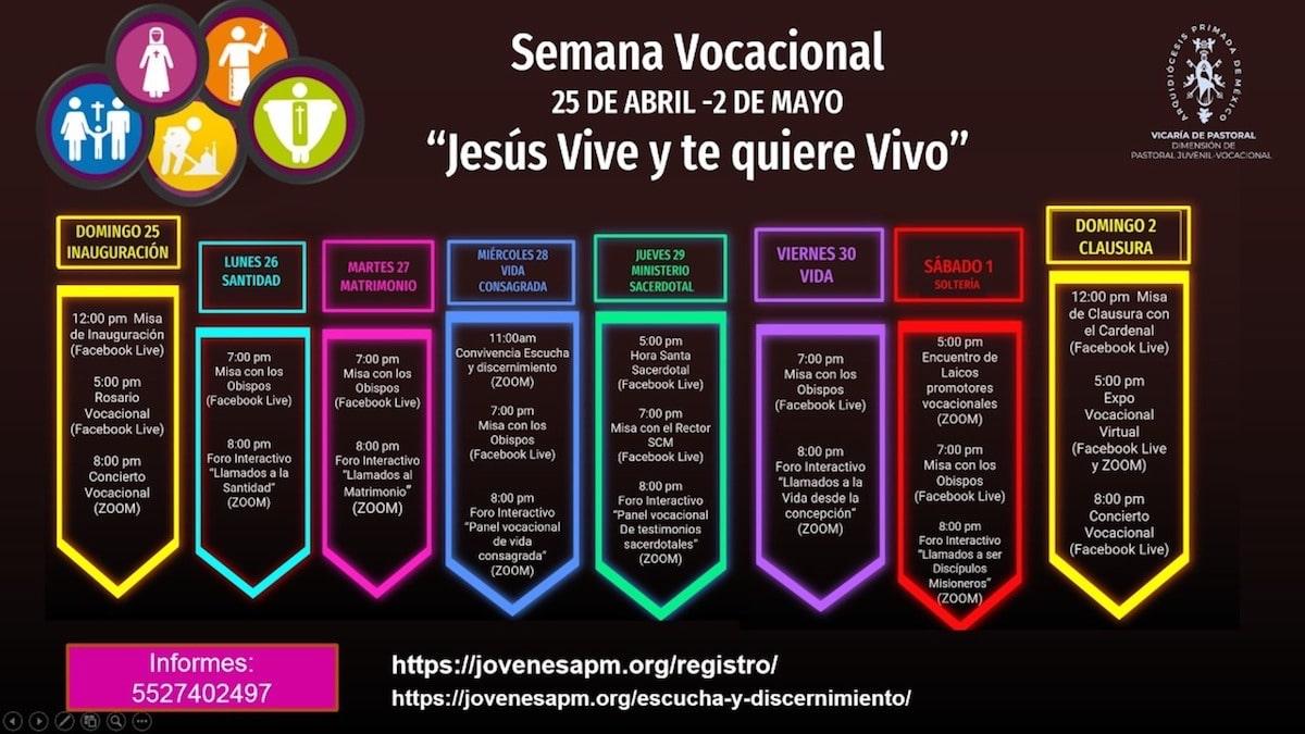 Calendario de actividades de la Semana Vocacional Arquidiocesana