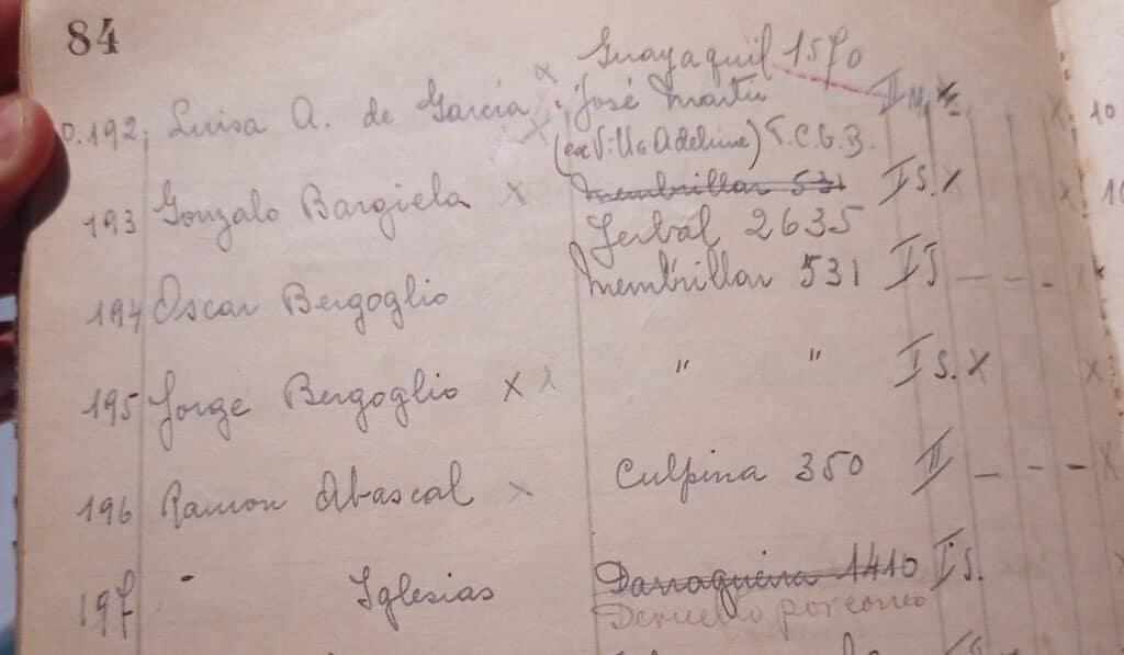 Cuaderno de la adoración nocturna, con el nombre del Papa Francisco. Foto cedida por Lucas Schaerer a Alfa y Omega.