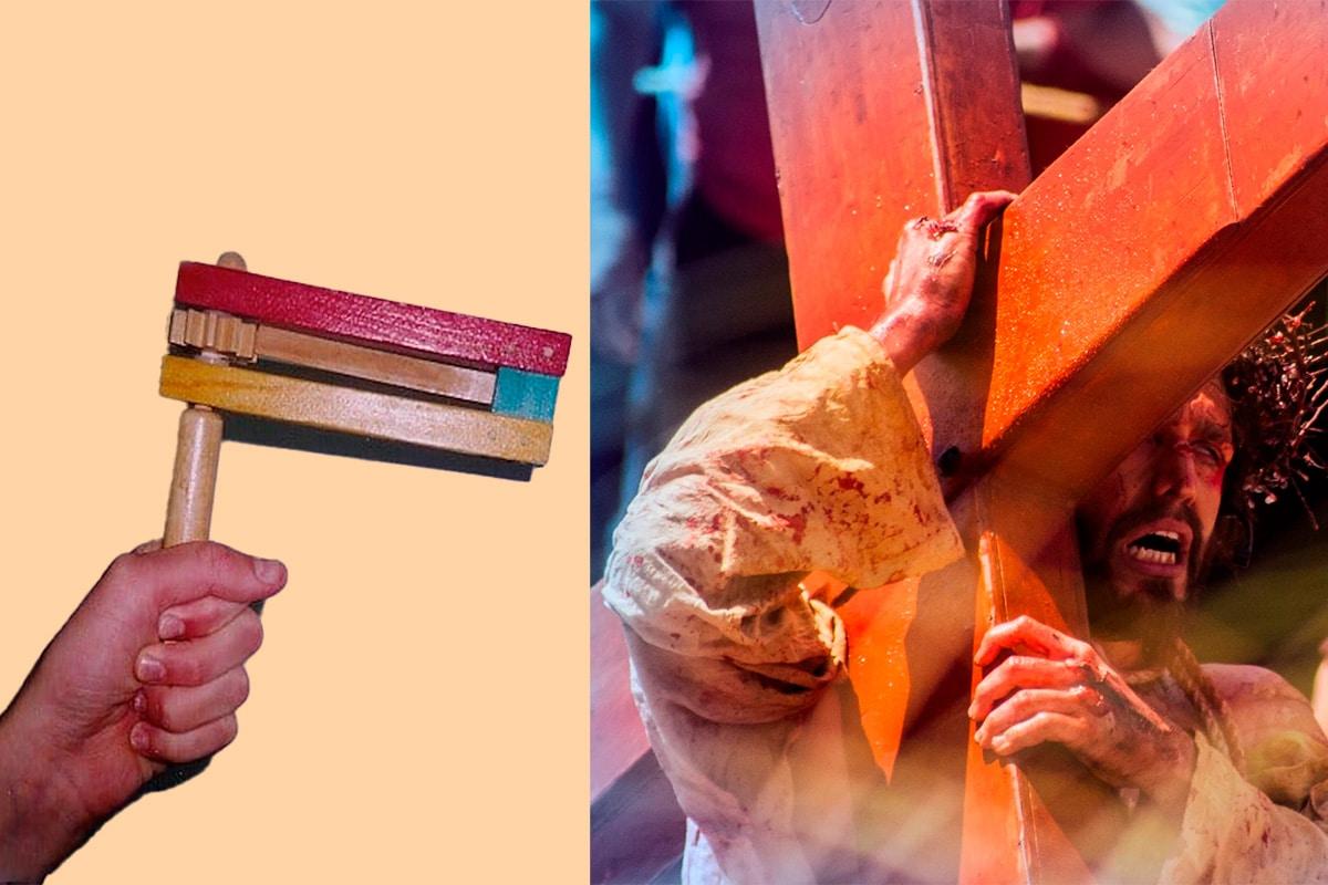 En los oficios de Semana Santa, es común escuchar matracas en vez de campanas.