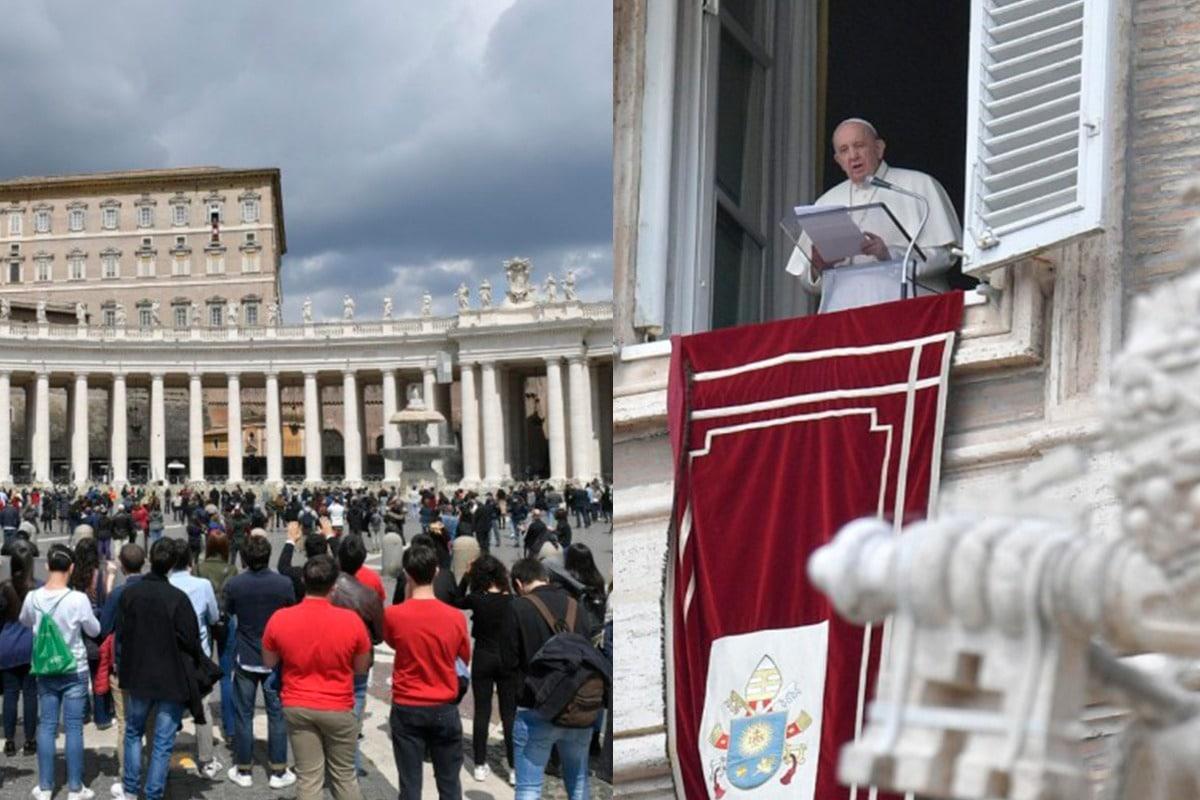Papa Francisco reza el Regina Coeli. Foto: Vatican Media.