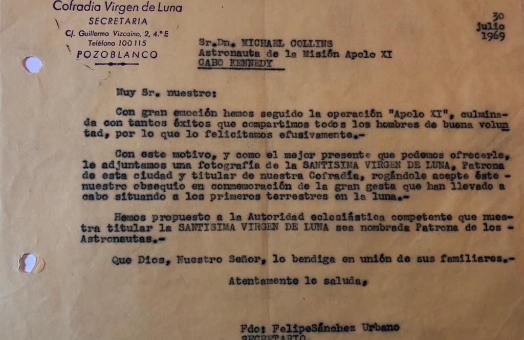 Carta de la Cofradía de la Virgen de la Luna.