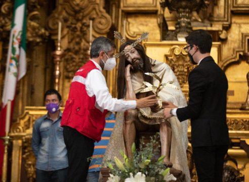 Piden ayuda al Señor del Cacao para seguir reparando la Catedral