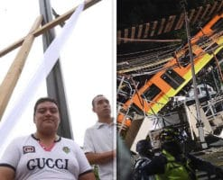 Donan cruz del Viacrucis de Iztapalapa al altar de la Línea 12 del Metro