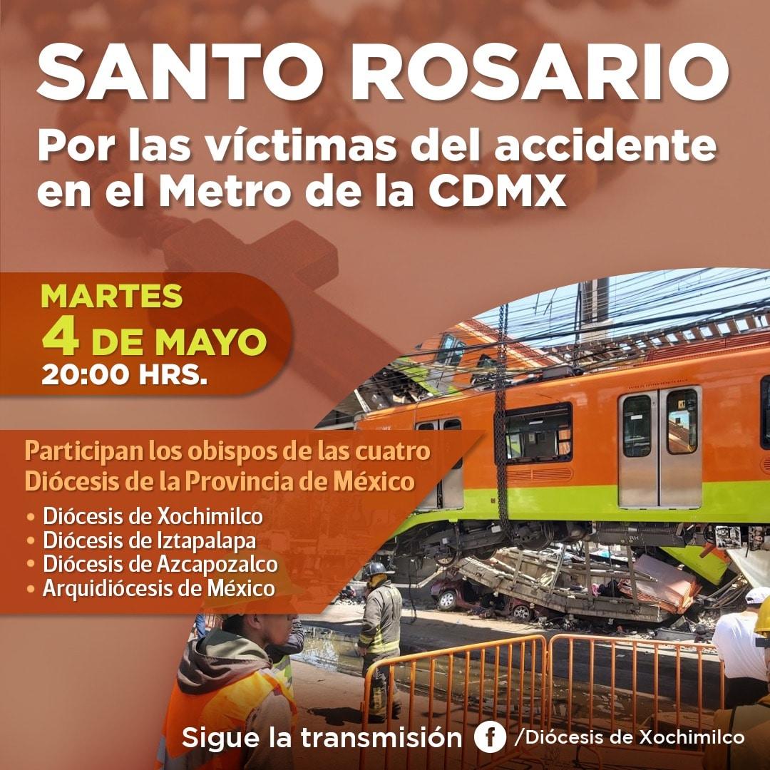 Santo Rosario por las víctimas del accidente en el Metro CDMX.