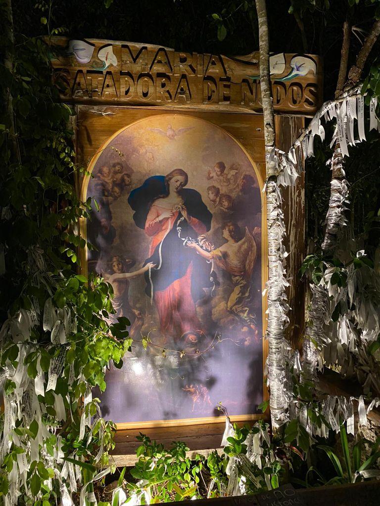 Imagen de la Virgen Desatanudos en el santuario de Cancún. Foto: William Luca