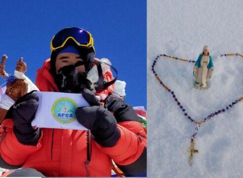 El alpinista que plantó un Rosario y una Virgen en la cima del Everest